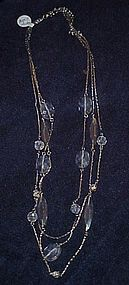 Vintage Monet Sterling fire and Ice 3 strand necklace
