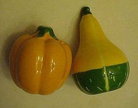 Avon Ceramic pumpkin and gourd salt and pepper shakers
