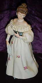 Homco Victorian lady with feather figurine 1463