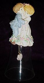 Glass wedding bell with bride and groom top,ornament