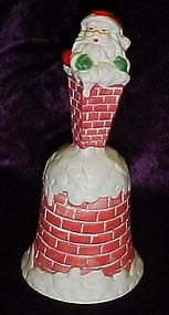 Ceramic Santa in the chimney Christmas bell