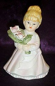 Little girls holding roses porcelain bell