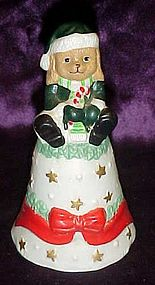 Porcelain puppy dog Santa  Christmas bell