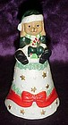 Porcelain puppy dog Santa  Christmas bell