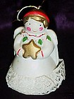 Little porcelain angel bell  Christmas ornament