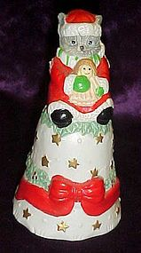 Porcelain kitty cat Santa Christmas bell