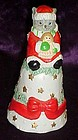 Porcelain kitty cat Santa Christmas bell