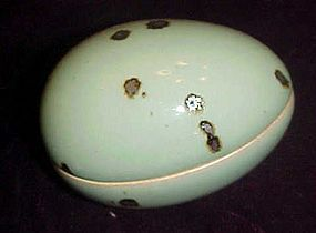 Dansk Speckled glazed ceramic egg box