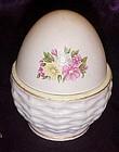 Vintage Lefton china hand painted pink  egg box 144
