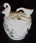 Bone china dresser jar, geese, butterflies, and flowers