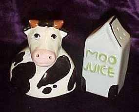 Cow and Moo juice salt and pepper shakers