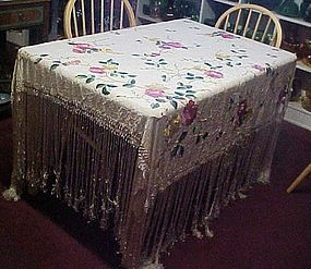 Beautiful vintage embroidery tablecloth Long fringe