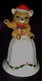 Bone china Santa teddy bear on wicker look bell