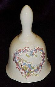 Little ceramic bell with heart and bluebirds