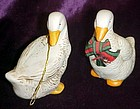 Two porcelain pair of geese bell ornaments