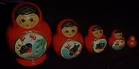 Set of 5 wooden Russian nesting dolls Matryoshka