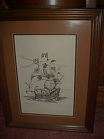 Limited  edition Spanish Galleon  signed Jim Campbell