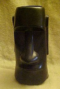 Vintage black Moai drink glass by OMC