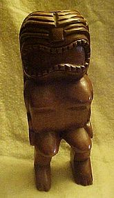 Hand carved  wood happiness Tiki statue