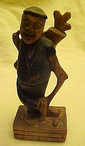 Vintage hand carved wood Golfer figurine