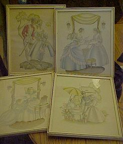 Set of four French Victorian ladies watercolor prints