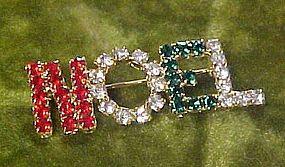 Noel Christmas rhinestone pin