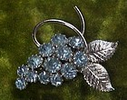 Pretty blue rhinestone grapes cluster pin