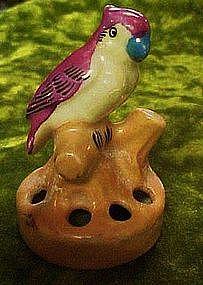 Vintage miniature bird lustreware flower frog