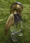 Hand blown glass penguin figurine with gold