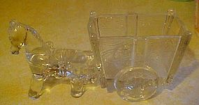 Large horse and cart  clear glass vase