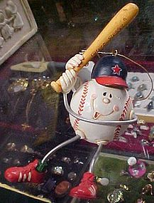 Anthropomorphic future slugger baseball ornament.