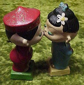 Vintage Asian kissing bobble head Nodder Bank set