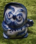 Hand Made whimsical  blue delft owl figurine
