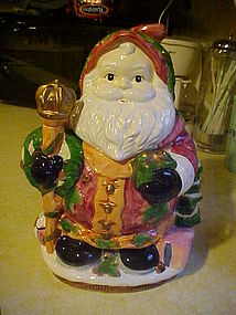 Hand painted ceramic Santa Claus cookie jar