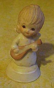 Lefton bisque angel with mandolin figurine 03426