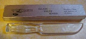 Clear glass fruit knife in original box