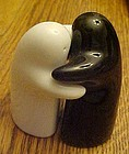Black and white ghost hugger salt and pepper shakers