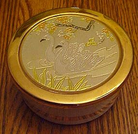 Art of Chokin porcelain engraved vanity box with swans