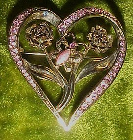 Lovely heart pin with butterfly and pink rhinestones