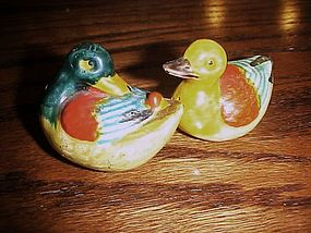 Old Japan hand painted Ducks salt and pepper shakers