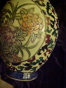 Antique Coralene pottery vase beading  moriage Floral