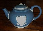 Blue white Jasperware teapot  Felix Towe coat of arms
