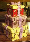 Stack of presents ceramic cookie jar