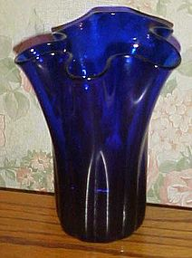 Vintage hand blown cobalt blue handkerchief vase
