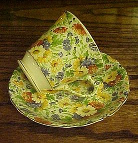 Old James Kent Longton Marigold chintz cup and saucer