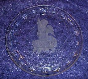 Crystal Hummel Christmas Angel plate 1996 Avon