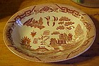 Vintage brown willow transferware oval serving bowl
