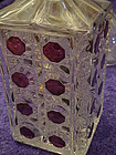 Vintage pressed crystal decanter with ruby flash accent