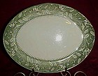 USA 31 pattern oval platter green and white floral rim
