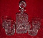 Poland lead crystal cut  whiskey decanter and 4 glasses